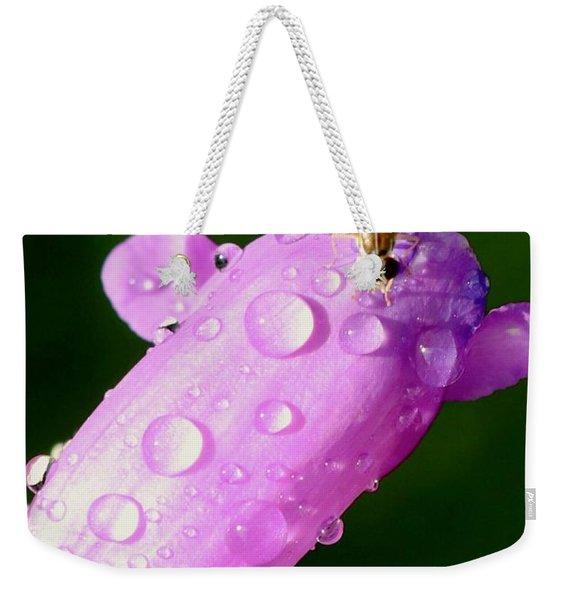 Hoverfly On Pink Flower Weekender Tote Bag