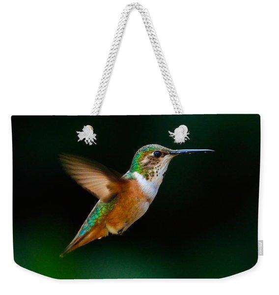 Hovering Allen's Hummingbird Weekender Tote Bag