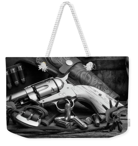 How The West Was Won In Black And White Weekender Tote Bag