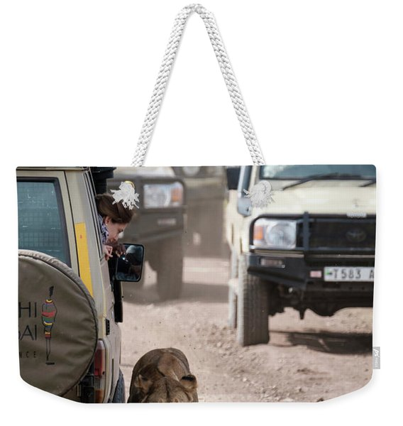 How To Find A Lion In The Serengeti Weekender Tote Bag