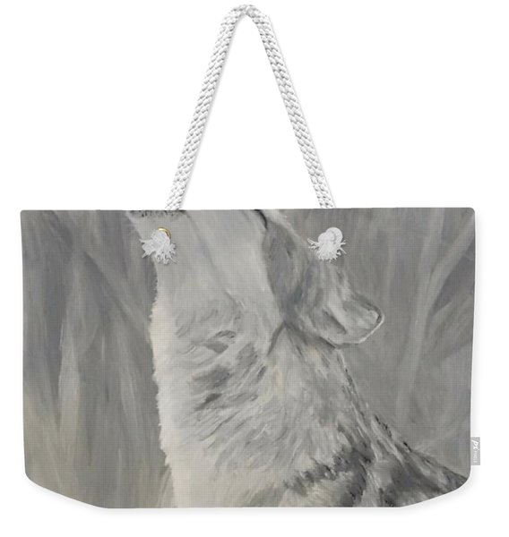 Weekender Tote Bag featuring the painting Howling Wolf by Kevin Daly