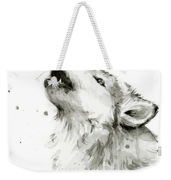 Howling Wolf Watercolor Weekender Tote Bag