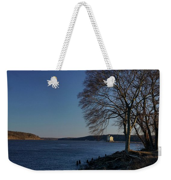 Weekender Tote Bag featuring the photograph Hudson River With Lighthouse by Nancy De Flon