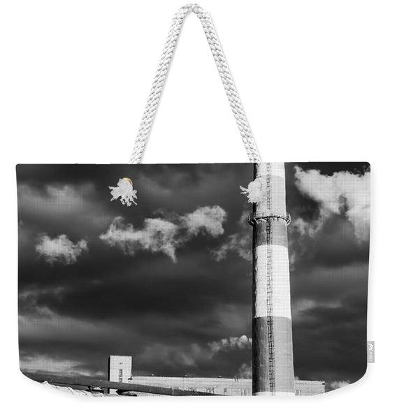 Huge Industrial Chimney And Smoke In Black And White Weekender Tote Bag