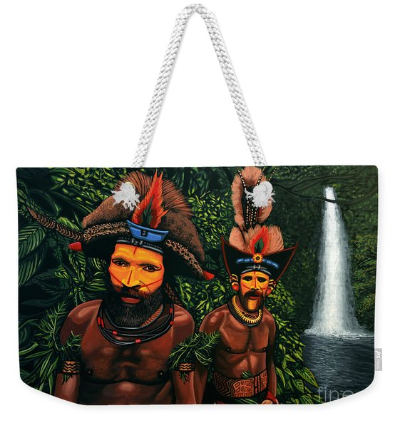 Huli Men In The Jungle Of Papua New Guinea Weekender Tote Bag