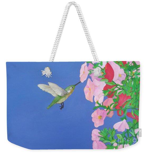 Hummingbird And Petunias Weekender Tote Bag