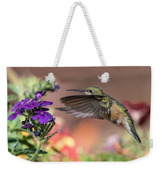 Hummingbird And Purple Flower Weekender Tote Bag