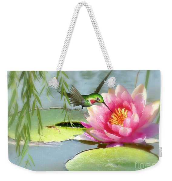 Hummingbird And Water Lily Weekender Tote Bag