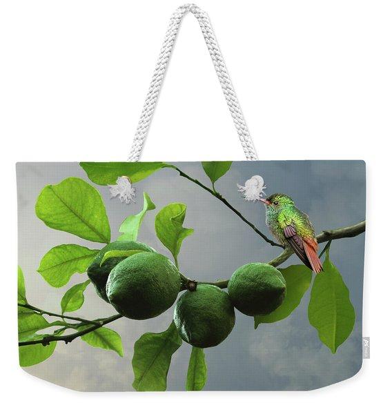 Hummingbird In Lime Tree Weekender Tote Bag
