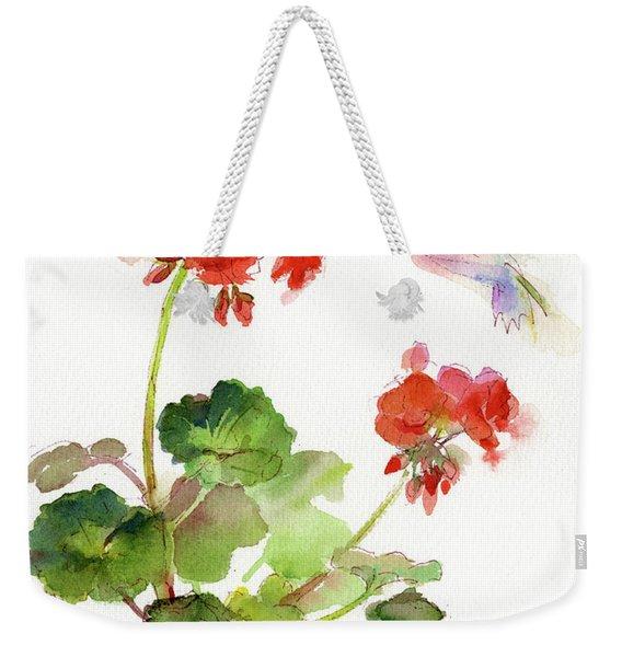 Hummingbird With Geranium Weekender Tote Bag