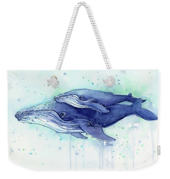 Humpback Whale Mom And Baby Watercolor Weekender Tote Bag