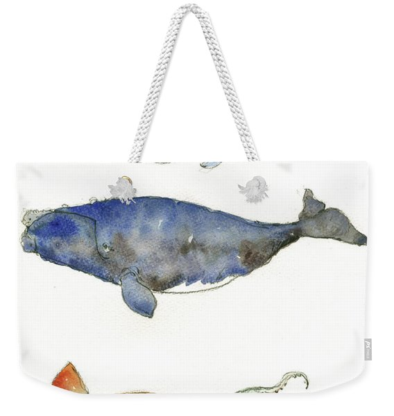 Humpback Whale, Right Whale And Squid Weekender Tote Bag