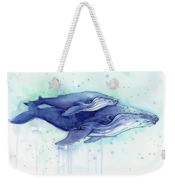 Humpback Whales Mom And Baby Watercolor Painting - Facing Right Weekender Tote Bag