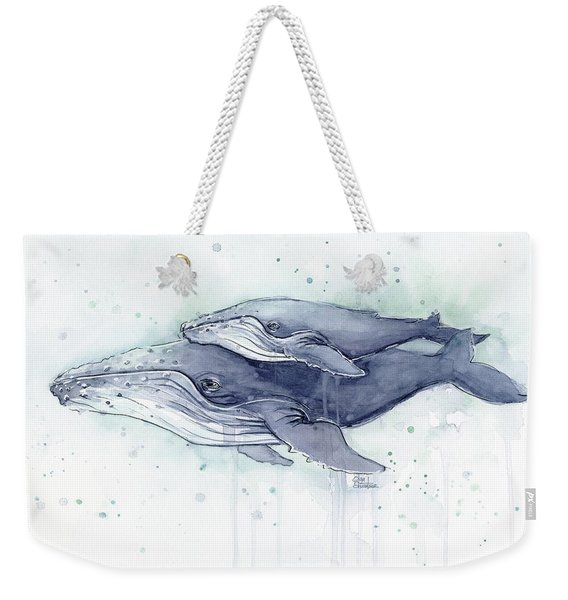 Humpback Whales Painting Watercolor - Grayish Version Weekender Tote Bag