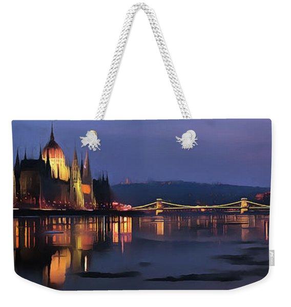 Hungarian Parliament By Night Weekender Tote Bag