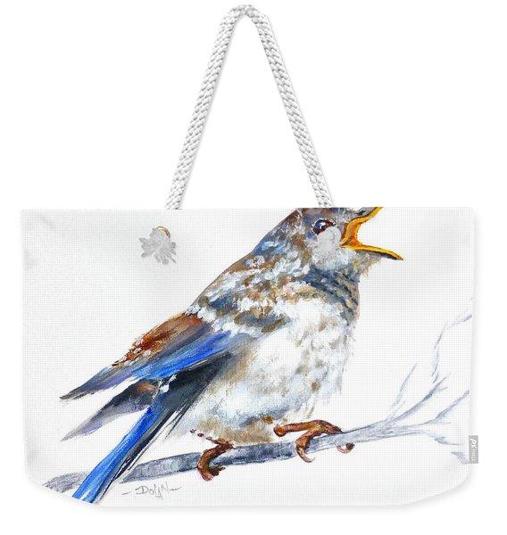 Hungry Fledgling Blue Bird Weekender Tote Bag
