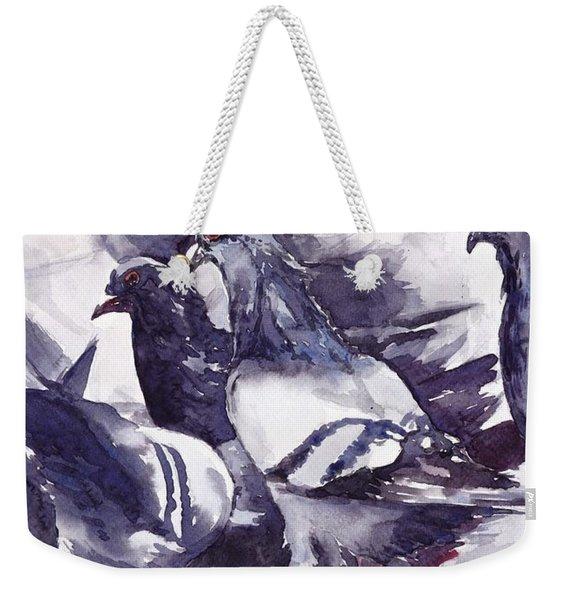 Hungry Pigeons Watercolor Weekender Tote Bag