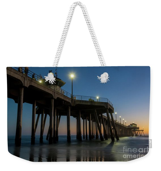 Huntington Beach Pier At Dusk Weekender Tote Bag