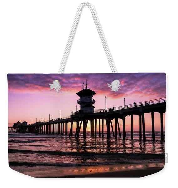 Huntington Pier At Sunset 2 Weekender Tote Bag