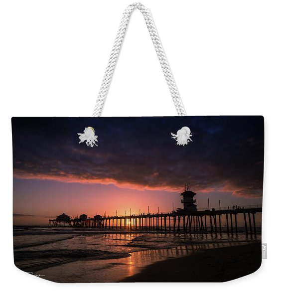 Huntington Pier At Sunset Weekender Tote Bag