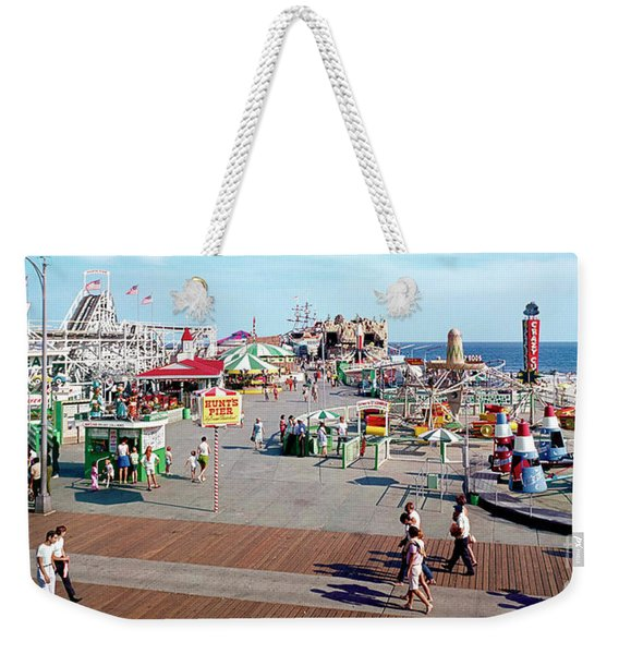 Hunts Pier In The 1960's, Wildwood Nj Sixties Panorama Photograph. Copyright Aladdin Color Inc. Weekender Tote Bag