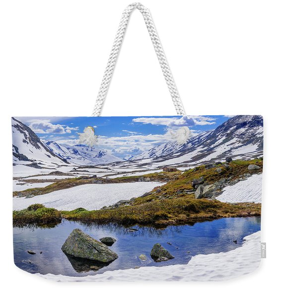 Weekender Tote Bag featuring the photograph Hut In The Mountains by Dmytro Korol