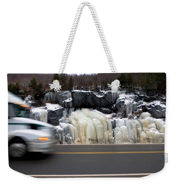 Weekender Tote Bag featuring the photograph Hwy Ice   by Doug Gibbons
