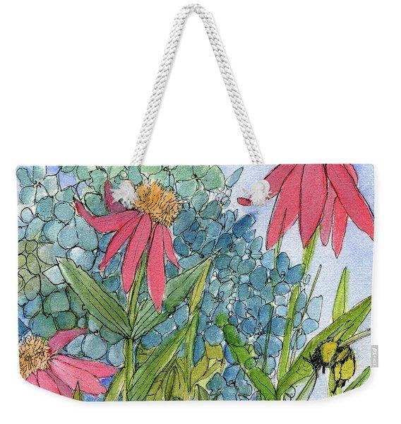 Hydrangea With Bee Weekender Tote Bag