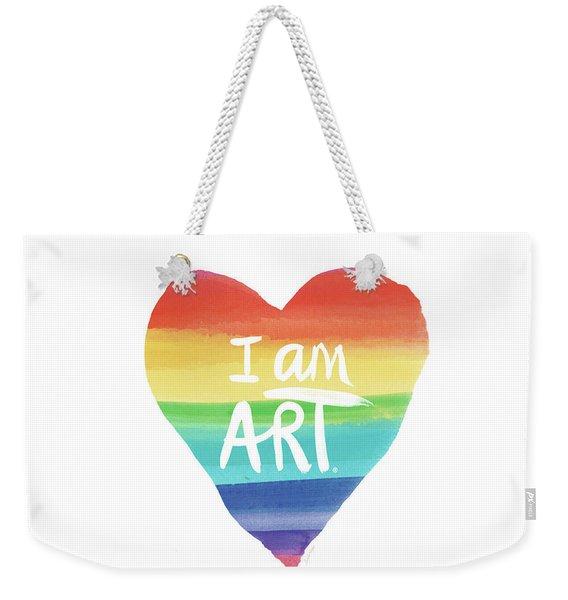 I Am Art Rainbow Heart- Art By Linda Woods Weekender Tote Bag