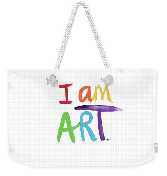 I Am Art Rainbow Script- Art By Linda Woods Weekender Tote Bag