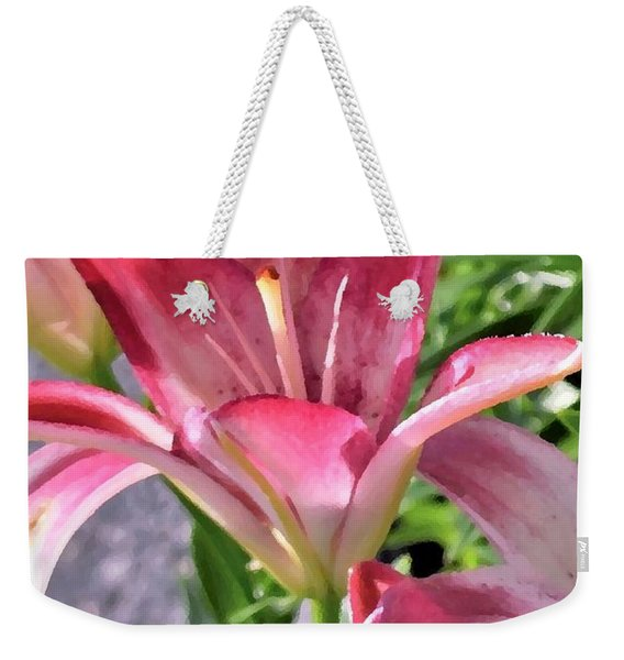 Weekender Tote Bag featuring the photograph Exquisite Pink Lilies by Kim Bemis