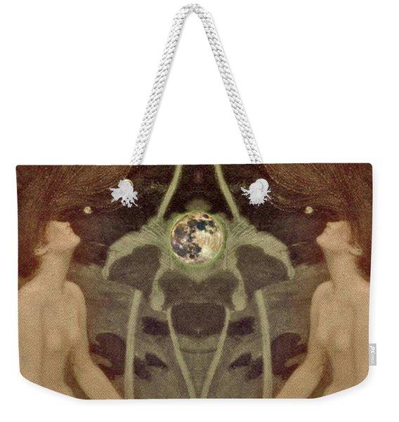 Weekender Tote Bag featuring the painting I Have Heard The Mermaids Singing by Lora Serra