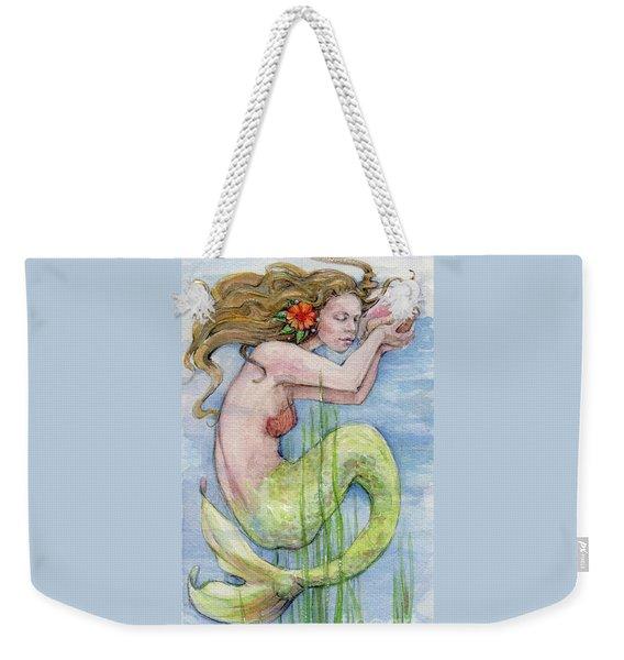 Weekender Tote Bag featuring the painting Mermaid by Lora Serra