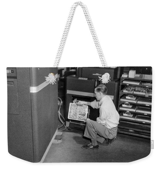 Ibm Punch Card Machine Weekender Tote Bag