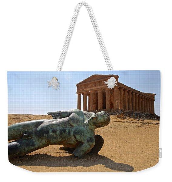 Icarus Lands At Concordia Weekender Tote Bag