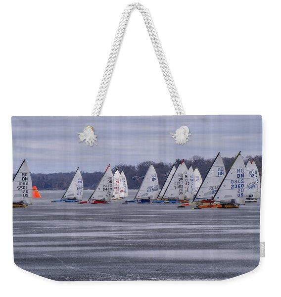 Ice Boat Racing - Madison - Wisconsin Weekender Tote Bag