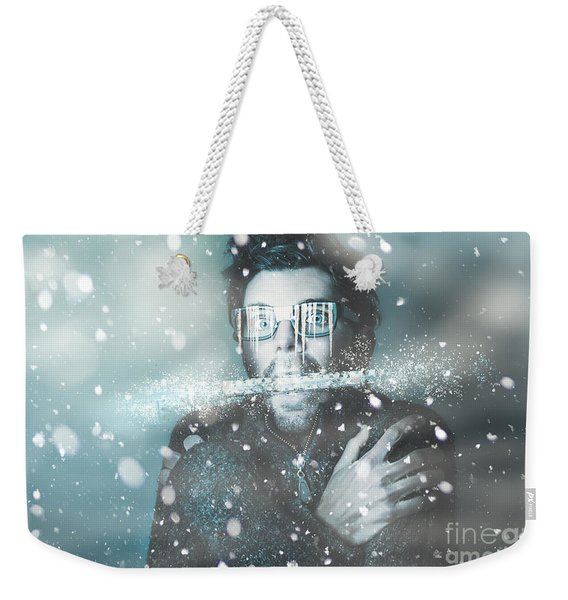 Ice Cold Winter Man In A Freeze Of Snow And Frost  Weekender Tote Bag