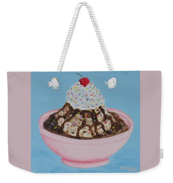 Weekender Tote Bag featuring the painting Ice Cream Sundae With Sprinkles by Nancy Nale