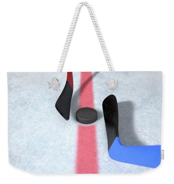 Ice Hockey Sticks And Puck Weekender Tote Bag