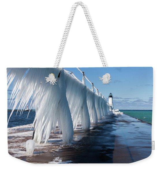 Ice On Manistee Pierhead Light Weekender Tote Bag