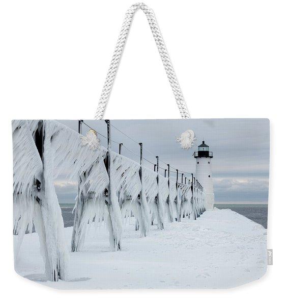 Ice On Manistee Pierhead Lighthouse-2 Weekender Tote Bag