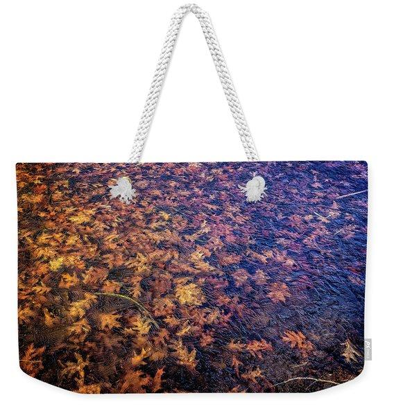 Ice On Oak Leaves Weekender Tote Bag