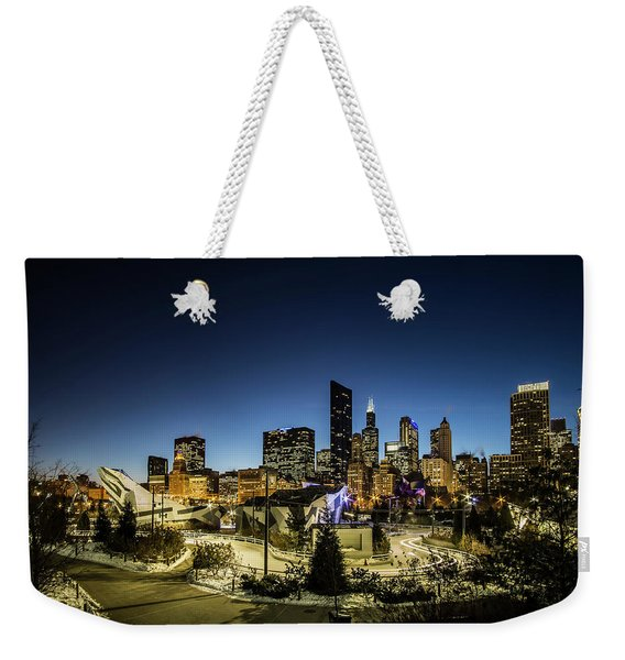ice ribbon and Chicago Skyline Weekender Tote Bag