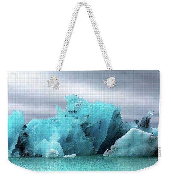 Iceland Blue Stormy Glaciers  Weekender Tote Bag