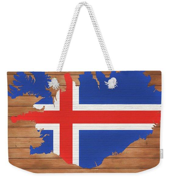 Iceland Rustic Map On Wood Weekender Tote Bag