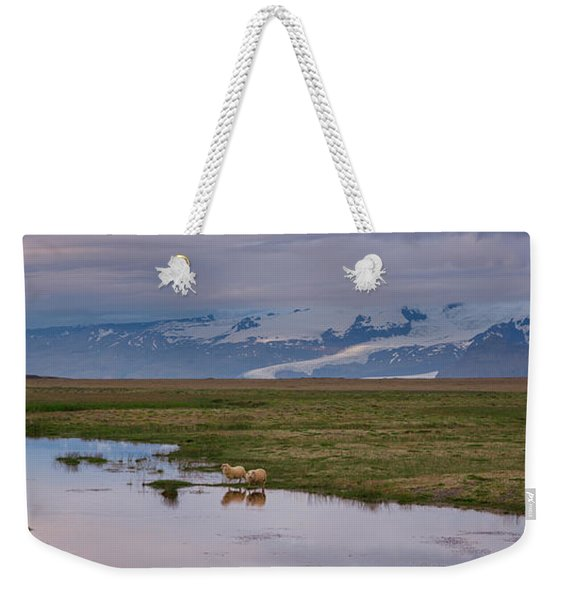 Iceland Sheep Reflections Panorama  Weekender Tote Bag