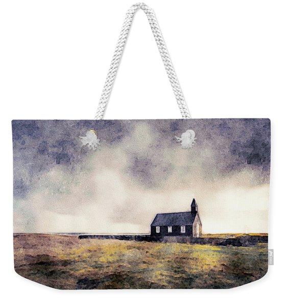 Icelandic Church In Watercolor Weekender Tote Bag