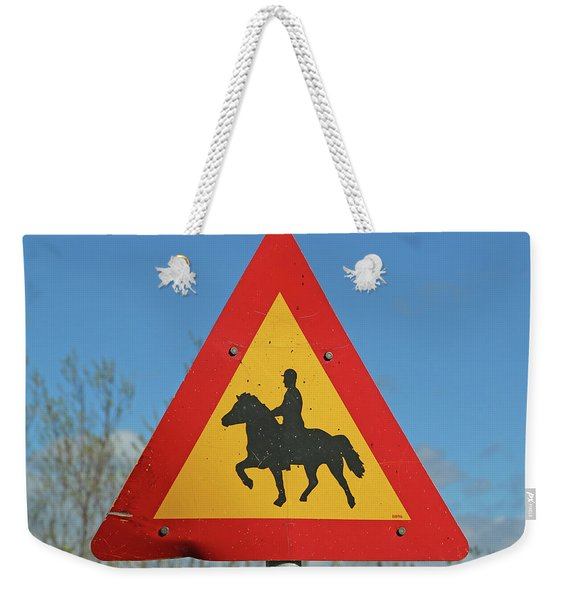 Icelandic Horse Crossing Sign Weekender Tote Bag