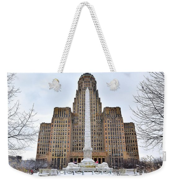 Iconic Buffalo City Hall In Winter Weekender Tote Bag
