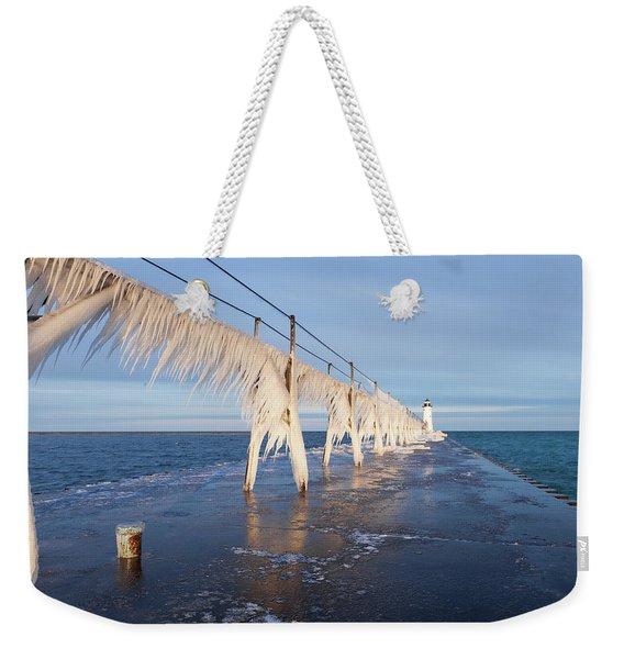 Icy Manistee Pierhead Lighthouse Weekender Tote Bag